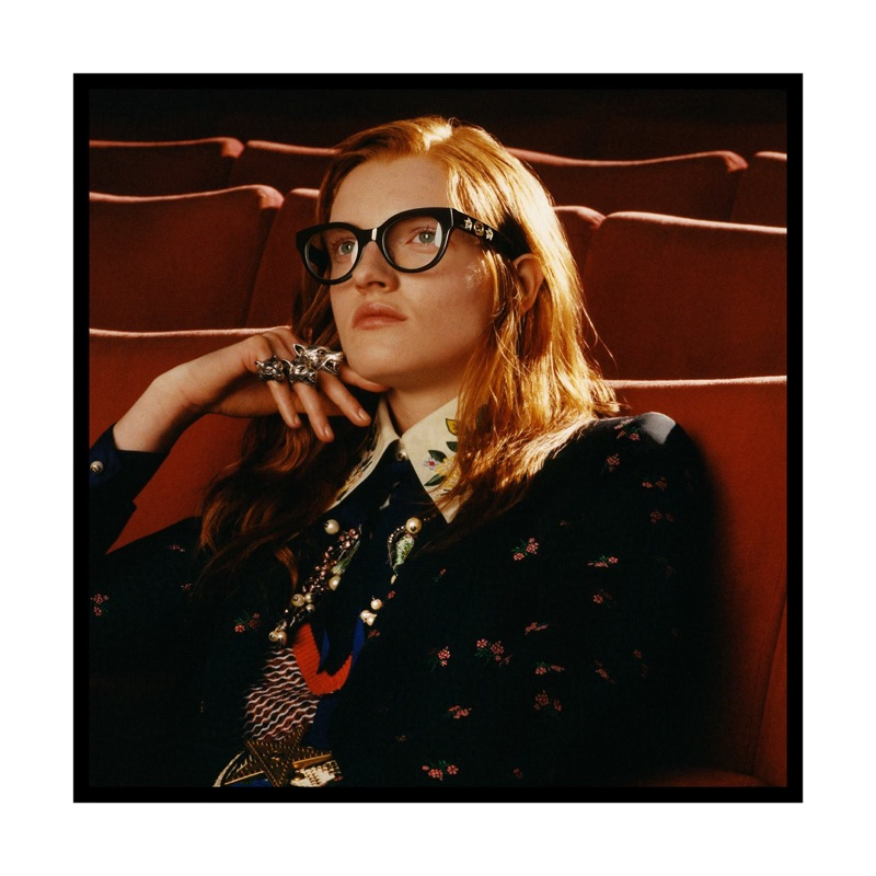 Model wears cat eye glasses in Gucci Eyewear fall-winter 2017 campaign