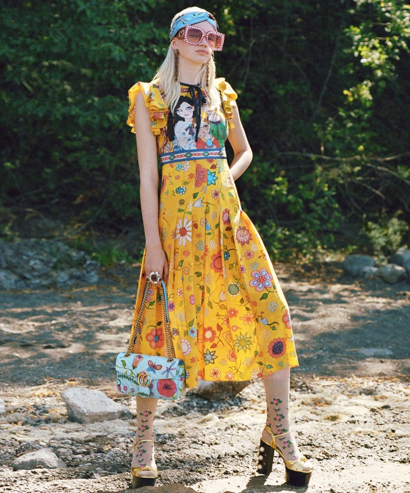 Stella Lucia wears look from Gucci x Unskilled Worker collaboration