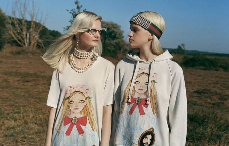 Unia Pakhomova and Stella Lucia front Gucci x Unskilled Worker campaign