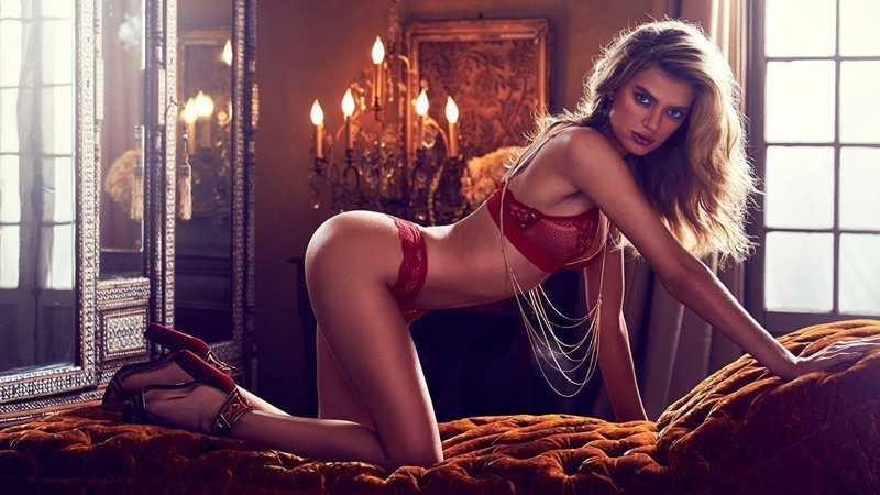 Bregje Heinen wears red bra and panty set in Guess Lingerie's fall-winter 2017 campaign