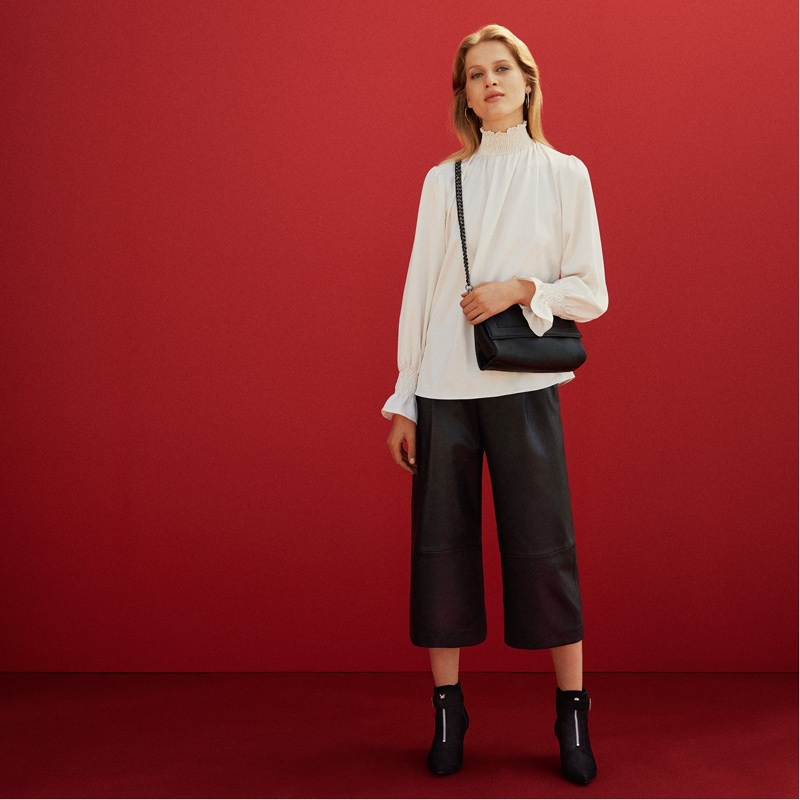 H&M Silk Blouse with Smocking, Leather Culottes, Leather Shoulder Bag and Suede Kitten-Heel Boots