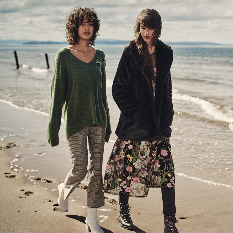 (Left) H&M Sweater with Appliqués, Ankle-Length Pants and Leather Ankle Boots (Right) H&M Faux Fur Jacket, Embroidered Mesh Dress, Slim-Fit Pants High Waist and Warm-Lined Boots