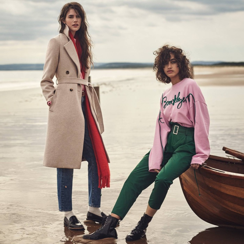 (Left) H&M Double-Breasted Coat, Woven Scarf, Vintage High Jeans and Leather Loafers (Right) H&M Oversized Sweatshirt, Paper-Bag Pants and Boots