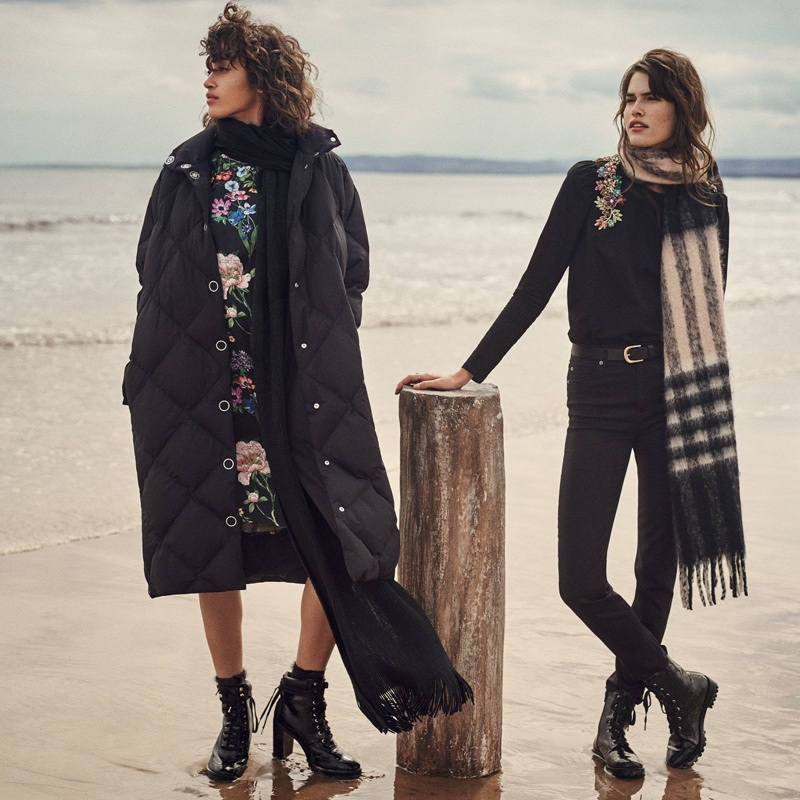 (Left) H&M Padded Jacket, Wide-Cut Satin Dress, Knit Scarf and Ankle Boots (Right) H&M Woven Scarf, Cotton Blouse with Rhinestones, Leather Belt, Slim-Fit Pants High Waist and Boots