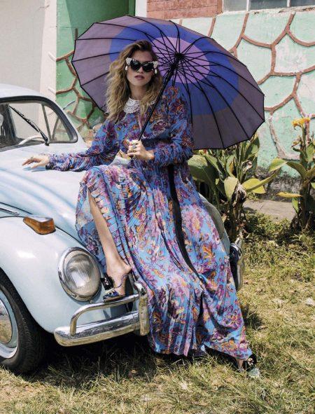 Hana Jirickova Dresses in Colorful Prints for Vogue Mexico