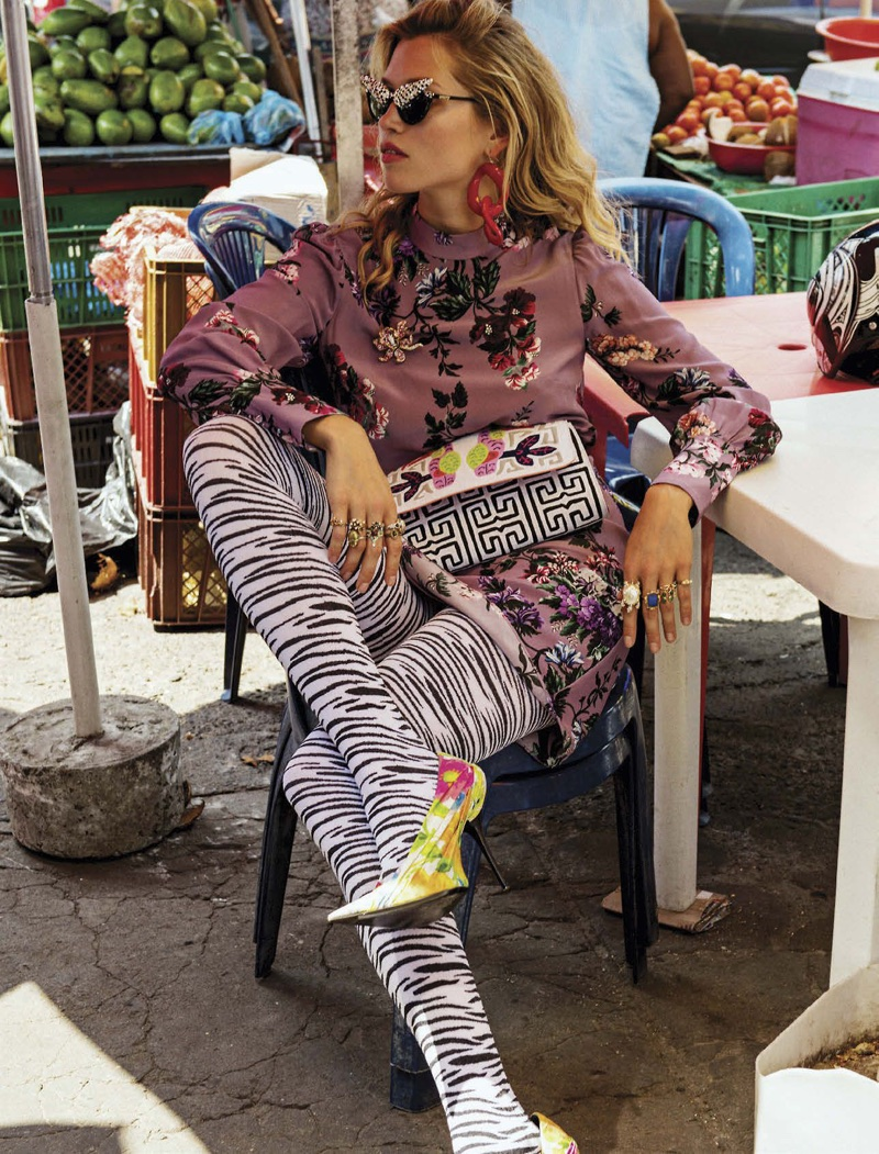 Hana Jirickova Dresses in Colorful Prints for Vogue Mexico