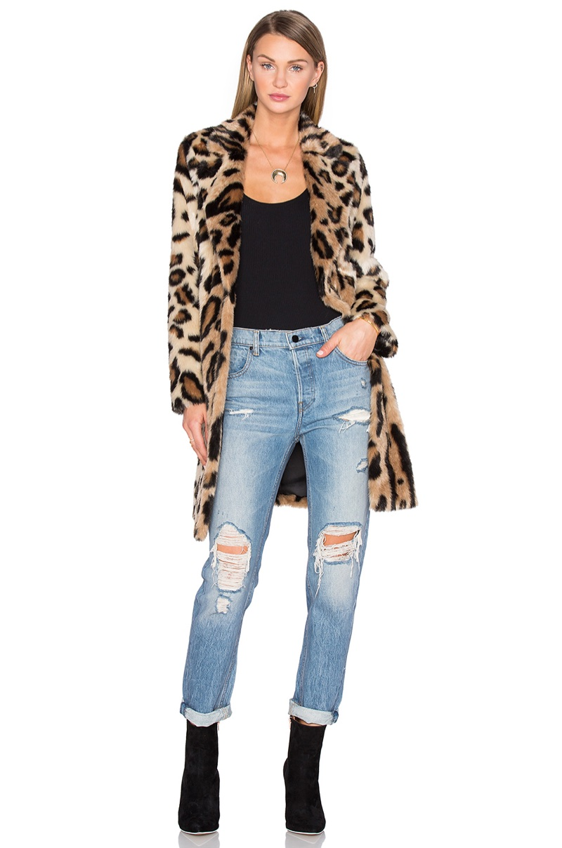 House of Harlow 1960 x REVOLVE Genn Faux Fur Leopard Print Coat $328