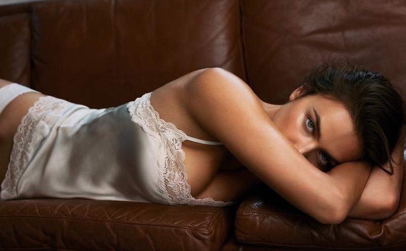 Model Irina Shayk poses in lace trimmed camisole top from Intimissimi