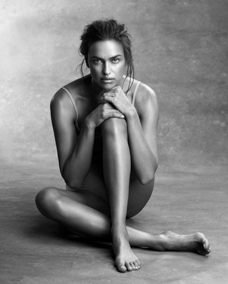 Photographed in black and white, Irina Shayk poses for lingerie brand Intimissimi