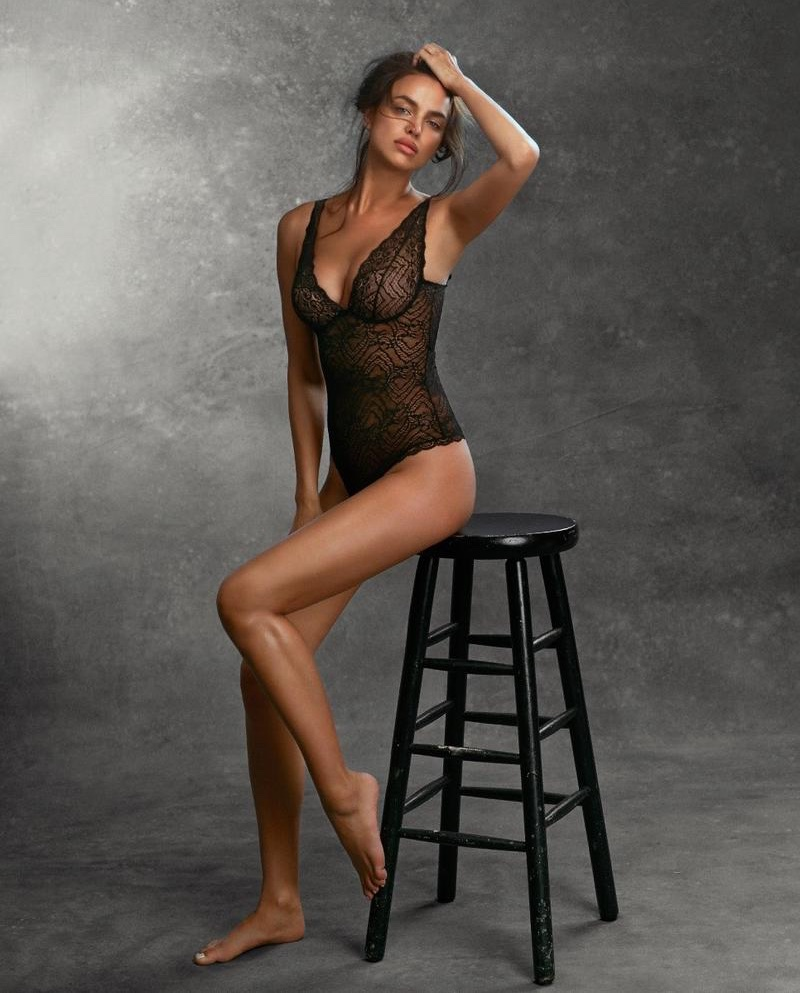 Irina Shayk flaunts her curves in lace bodysuit from Intimissimi