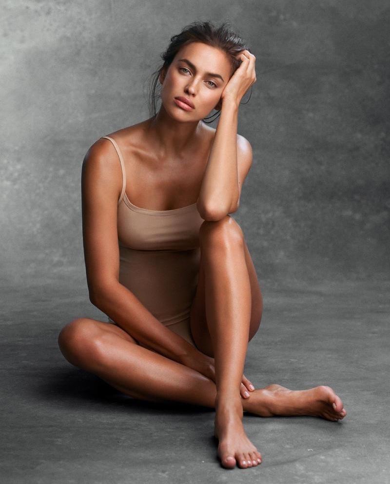 Irina Shayk wears Intimissimi tan bodysuit
