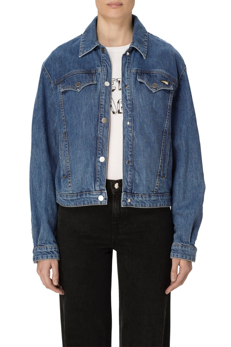 J Brand x Bella Freud Debbie Snap Front Jacket Electrify $398