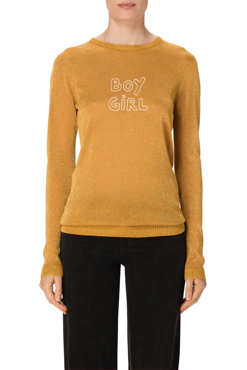 J Brand x Bella Freud Sparkle Boy Girl Sweater in Gold Lurex $368