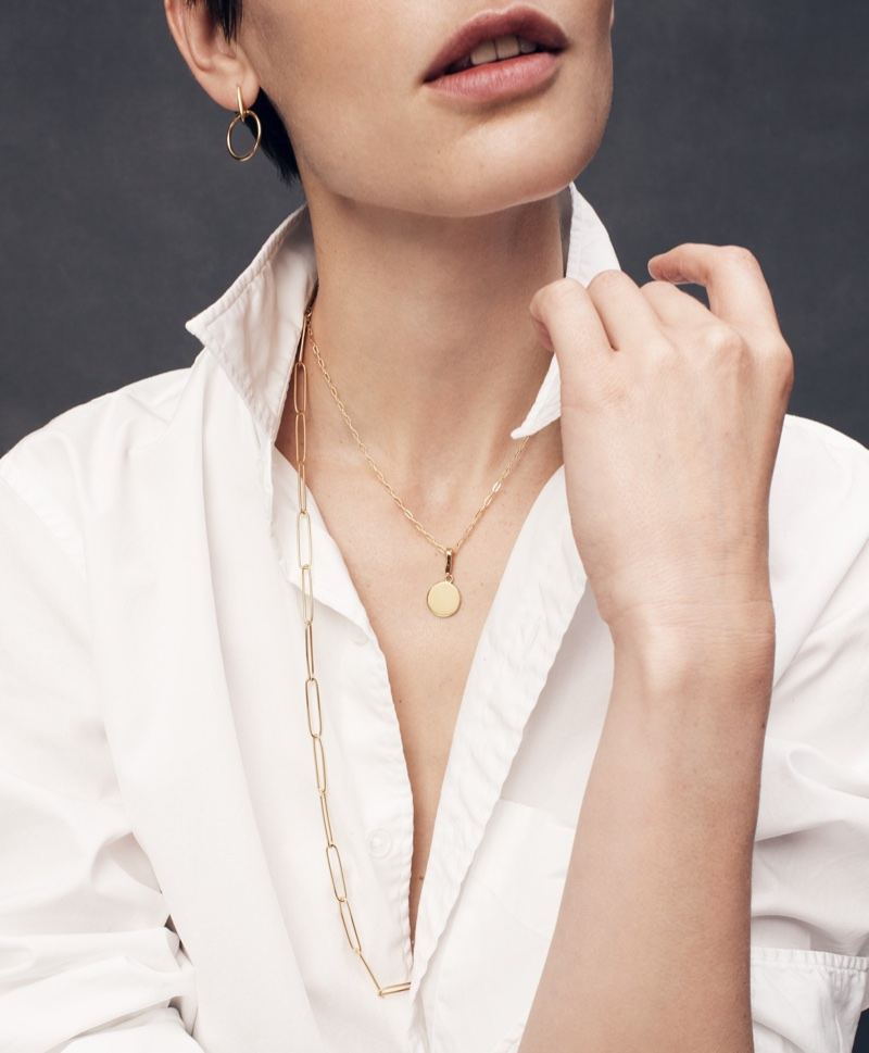 Thomas Mason for J. Crew Ludlow Slim-Fit Oxford Cloth Shirt, Demi-Fine 14k Gold-Plated Drop Hoop Earrings, Demi-Fine 14k Gold-Plated Short Chain Necklace, Demi-Fine 14k Gold-Plated Engravable Disc Charm and Demi-Fine 14k Gold-Plated Long Paper Clip Necklace