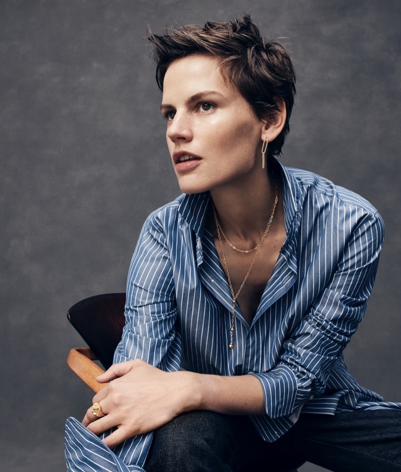 J. Crew Ludlow Slim-Fit Shirt in Blue and White Stripe, 770 Straight-Fit Jean in Raw Selvedge Denim, Demi-Fine 14k Gold-Plated Orb Pendant Necklace, Demi-Fine 14k Gold-Plated Lion Ring, Demi-Fine 14k Gold-Plated Paper Clip Earrings and Gold-Plated Short Chain Necklace