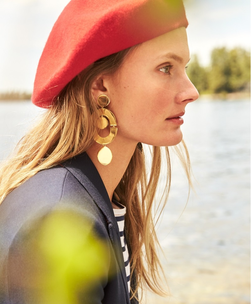 J. Crew Italian Wool Beret, Dover Blazer in Italian Wool, Saint James for J. Crew Slouchy T-Shirt and Orbit Earrings