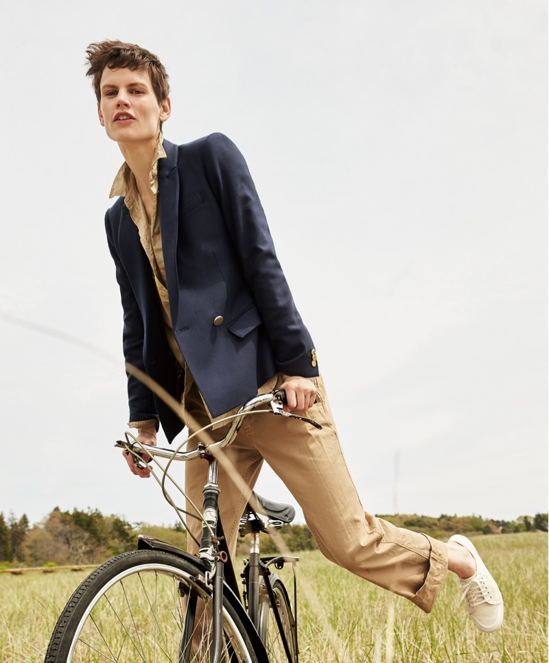 J. Crew Dover Blazer in Italian Wool, Fatigue Boyfriend Shirt, Boyfriend Chino Pant and Tretorn Canvas T56 Sneakers