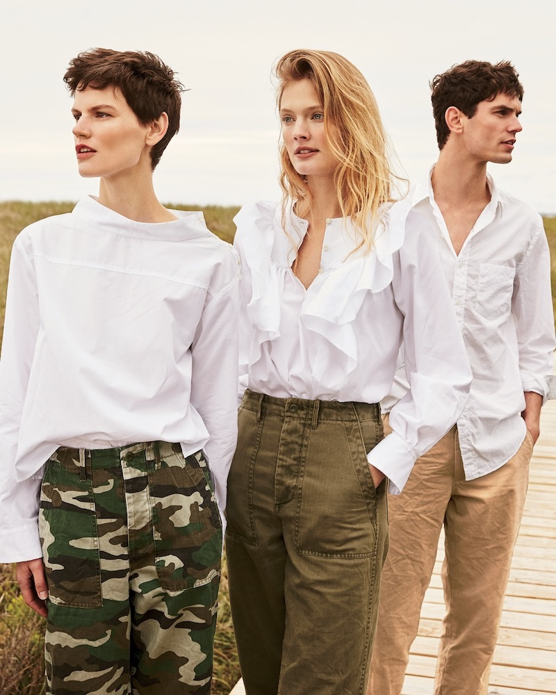 (Left) J. Crew Funnelneck Shirt and Camouflage Foundry Pant (Right) J. Crew Ruffle-Front White Shirt and The 2011 Foundry Pant