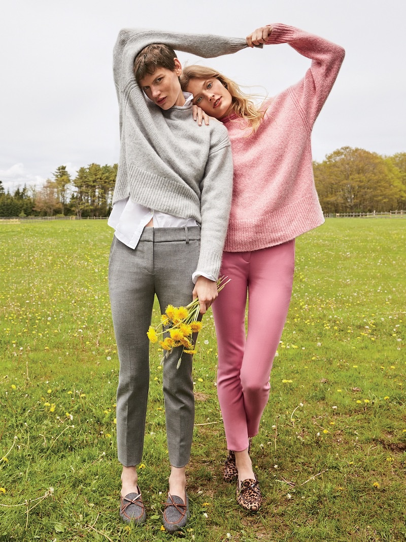 (Left) J. Crew The 1988 Italian Cashmere Rollneck Sweater, Thomas Mason for J. Crew Boy Shirt, Cameron Slim Crop Pant in Four-Season Stretch (Right) J. Crew The 1988 Italian Cashmere Rollneck Sweater, Cameron Slim Crop Pant in Four-Season Stretch and Academy Loafers in Calf Hair