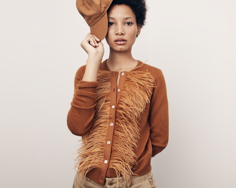 J. Crew Crewneck Cardigan Sweater with Feather Trim, Boyfriend Chino Pant and Wallace & Barnes Duck Canvas Ball Cap
