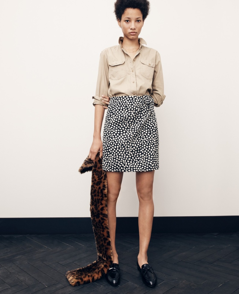J. Crew Fatigue Boyfriend Shirt, Metallic Pebble Print Jacquard Skirt, Leopard Faux-Fur Stole and Academy Loafers in Leather