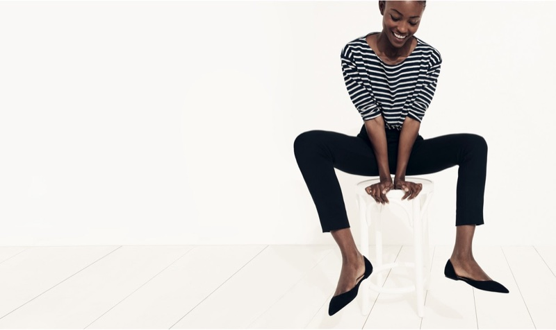 J. Crew Striped Boatneck T-Shirt, Cameron Slim Crop Pant in Four Season Stretch and Audrey Flats in Suede