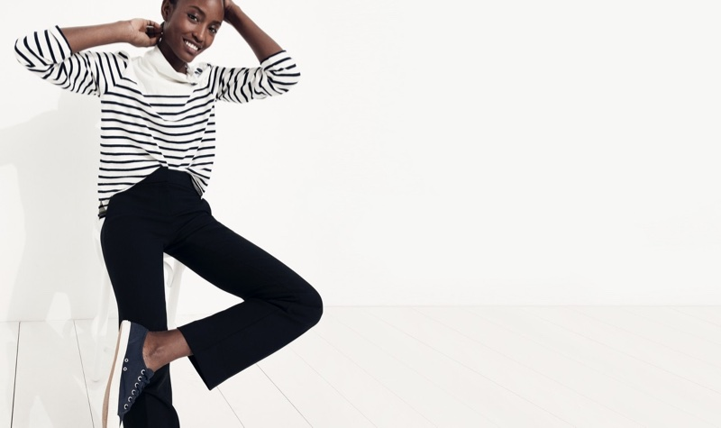 J. Crew Striped Button-Shoulder Turtleneck, Edie Full-Length Trouser in Four-Season Stretch and Tretorn Canvas T56