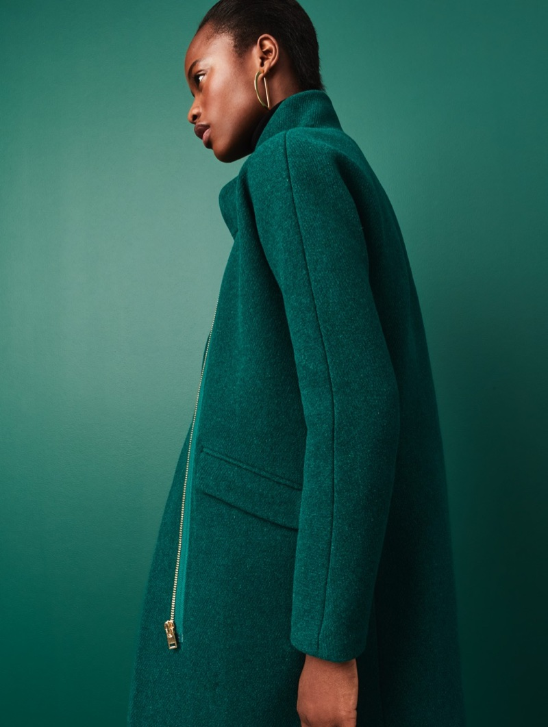 J. Crew Cocoon Coat in Italian Stadium-Cloth Wool and Gold Half-Hoop Earrings