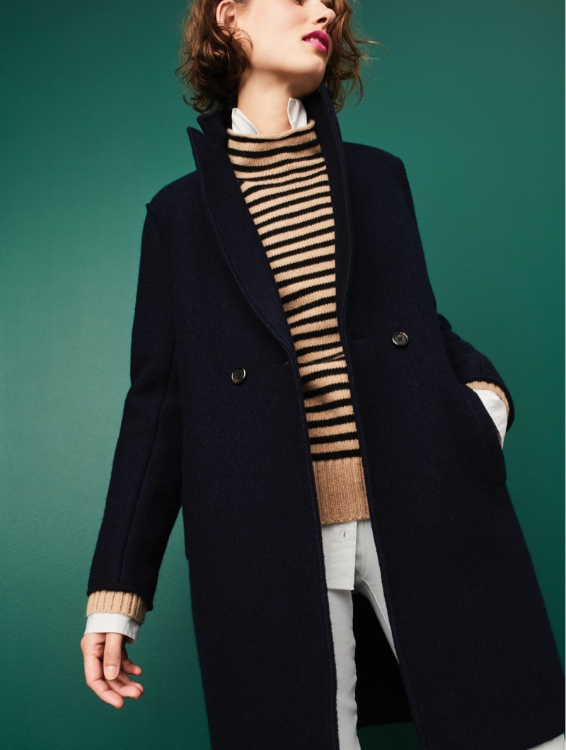 "J. Crew Daphne Topcoat in Boiled Wool, Thomas Mason for J. Crew Boy Shirt, The 1999 Striped Funnelneck Sweater in Merino Wool and 9"" High-Rise Toothpick Jean in White"