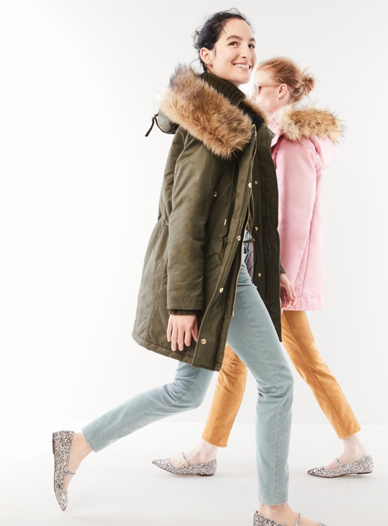 "(Left) J. Crew Perfect Winter Parka, Ribbed Turtleneck in Italian Cashmere and 9"" High-Rise Toothpick Corduroy Pant (Right) J. Crew Pink Parka with Quilted Lining and Maddie Pant in Chino"
