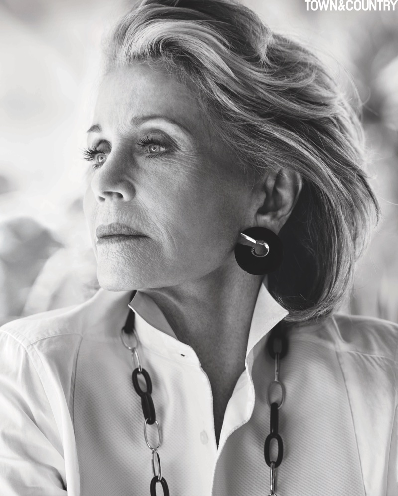 Actress Jane Fonda wears Ralph Lauren shirt