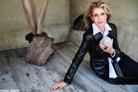 Jane Fonda poses in Louis Vuitton trench coat, Thom Browne shirt and Max Mara pants