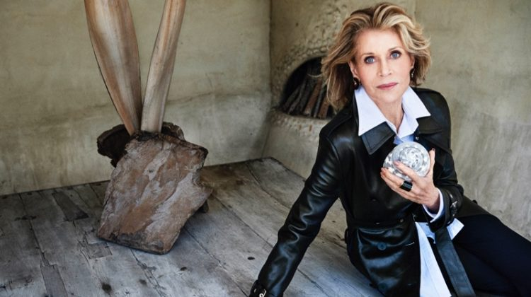 Jane Fonda poses in Louis Vuitton trench coat, Thom Browne shirt and Max Mara pants