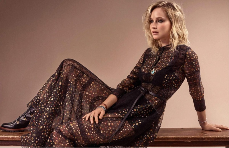 Dressed in black, Jennifer Lawrence wears Dior maxi dress