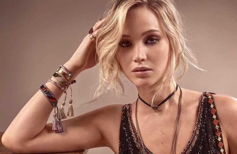 Getting her closeup, Jennifer Lawrence wears Dior jewelry