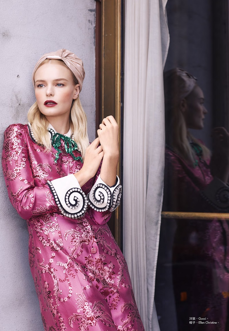 Actress Kate Bosworth poses in pink Gucci dress