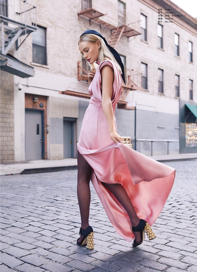 Looking pretty in pink, Kate Bosworth wears Prada dress and Miu Miu heels
