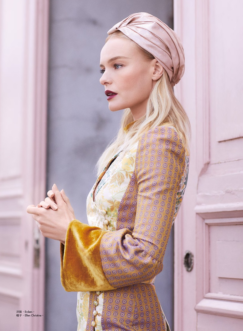 Actress Kate Bosworth wears Erdem dress with Ellen Christine turban
