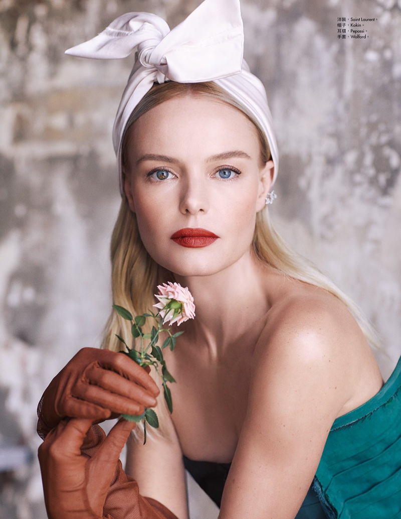Ready for her closeup, Kate Bosworth poses in Saint Laurent strapless dress