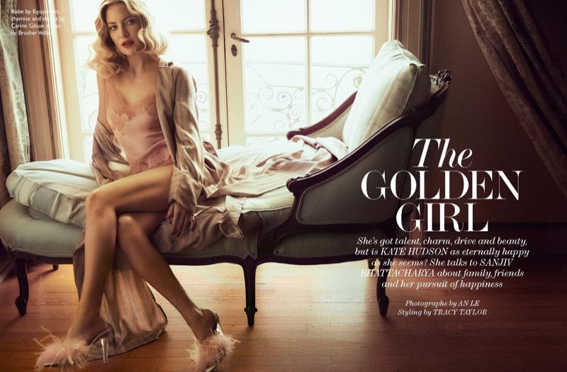 Photographed by An Le, Kate Hudson wears Equipment robe, Carine Gilson chemise and shorts