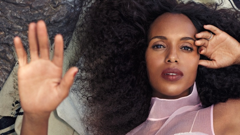 Actress Kerry Washington poses in Prada dress