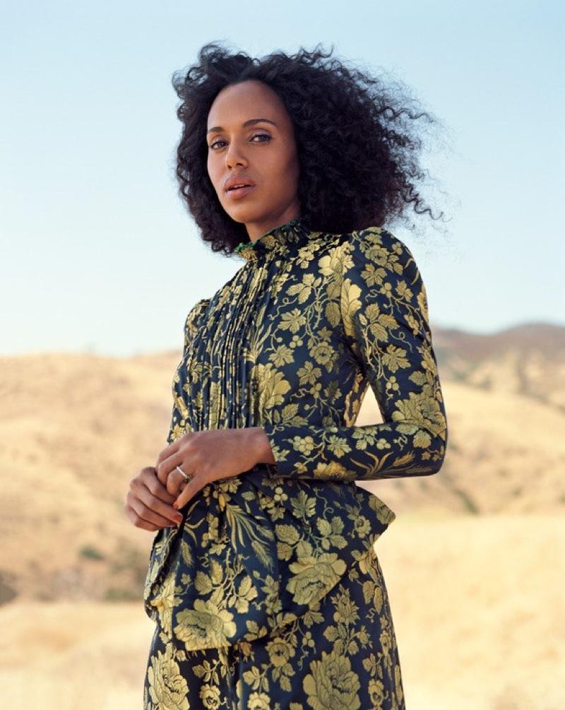 Kerry Washington poses in Gucci jacquard dress