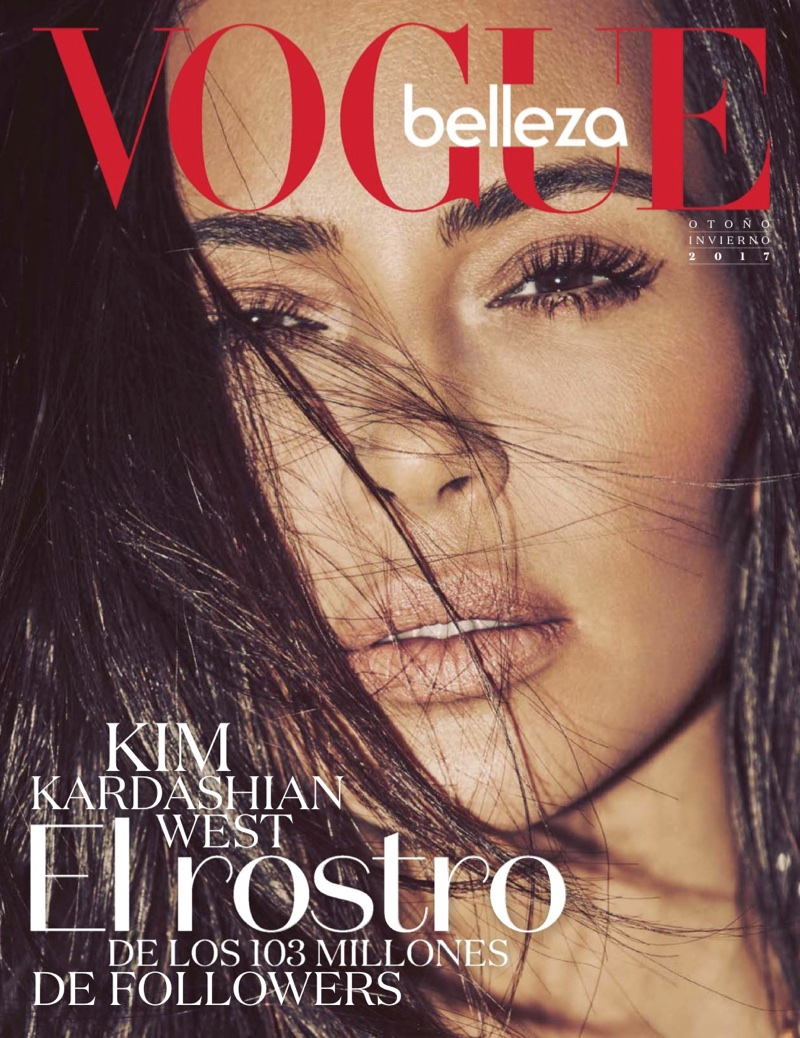 Kim Kardashian poses in Vogue Mexico beauty supplement