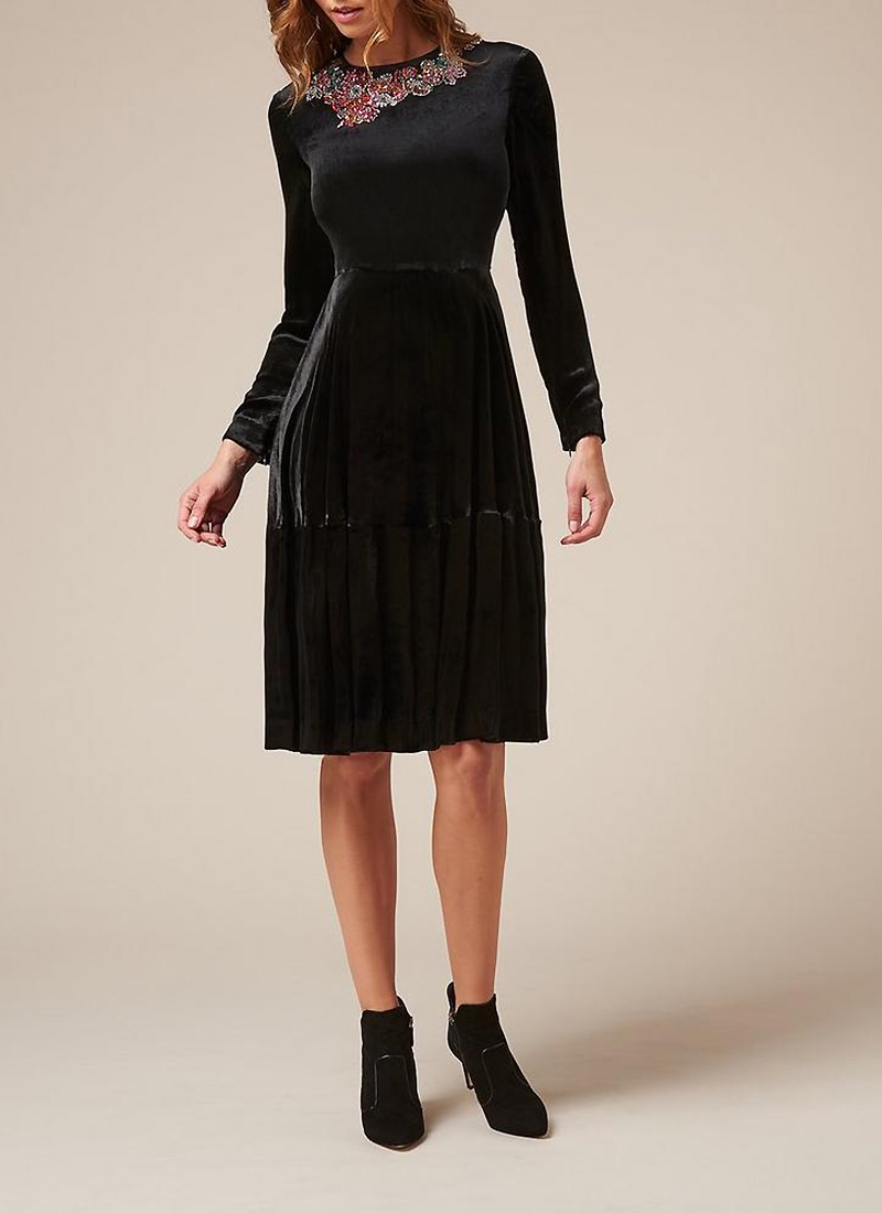 L.K. Bennett x Preen Patti Velvet Embroidered Dress $825