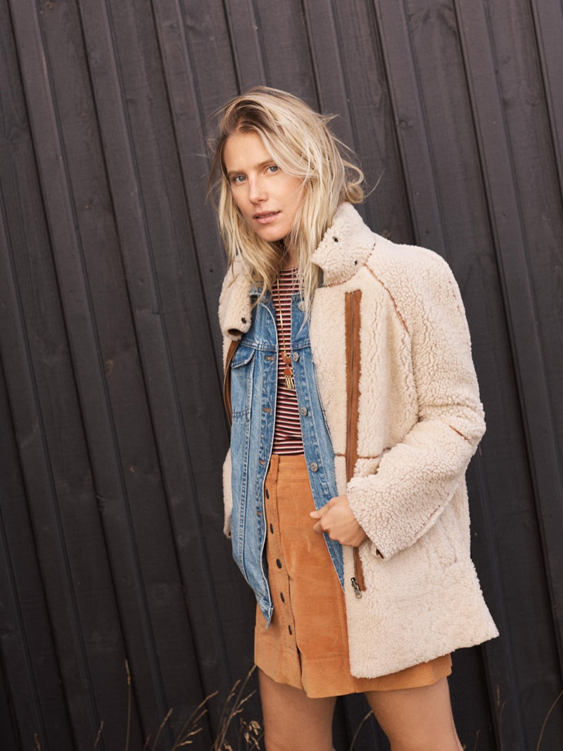 Madewell Reversible Shearling Jacket, The Oversized Jean Jacket in Capstone Wash, Long-Sleeve Crewneck Bodysuit in Stripe, Velveteen Metropolis Snap Skirt and Concept Pendant Necklace