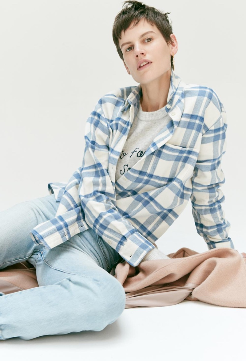 Madewell Oversized Ex-Boyfriend Shirt in Akiva Plaid, Embroidered So Far So Good Pullover Sweater, The Perfect Summer Jean and Atlas Cocoon Coat in Avalon Pink
