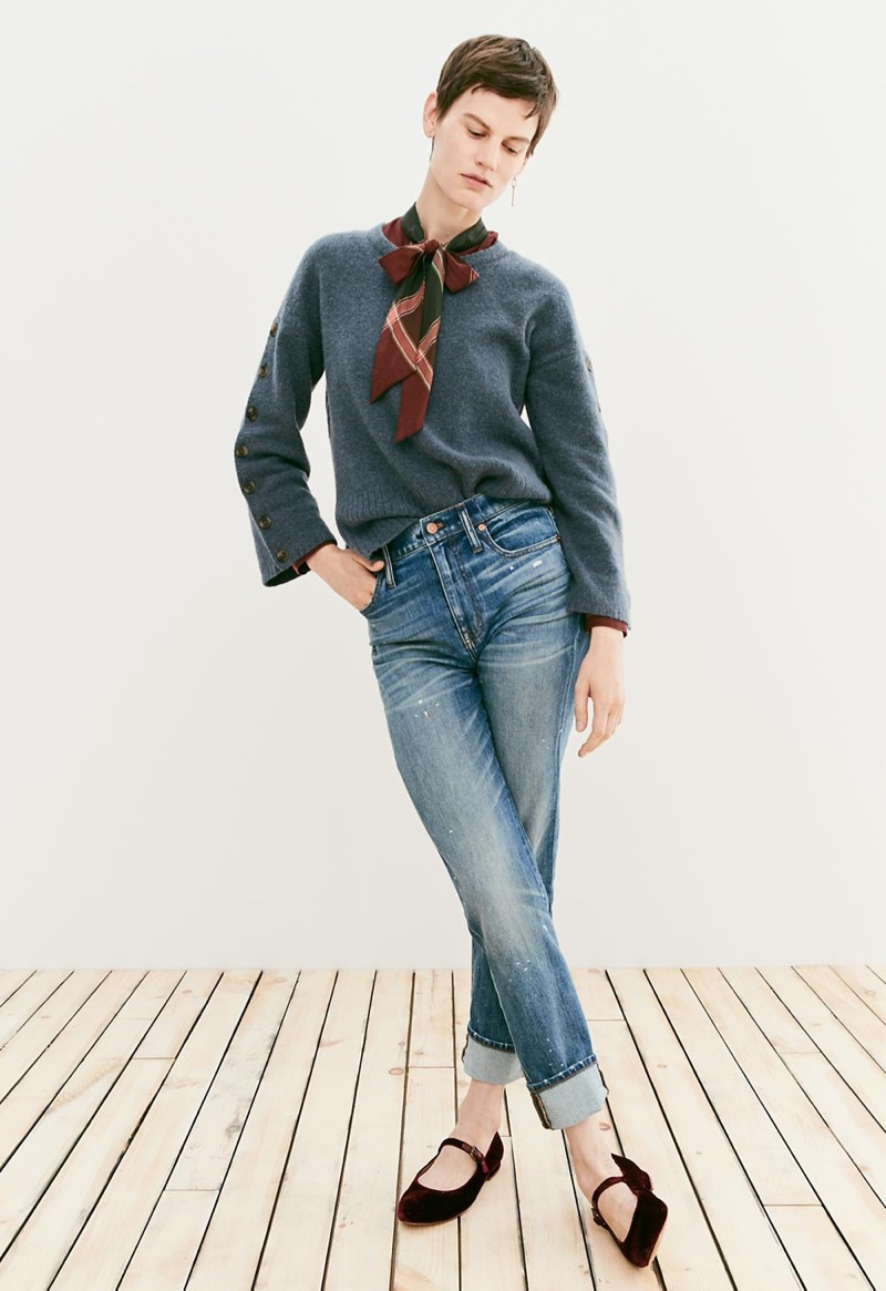 Madewell Button-Sleeve Pullover Sweater, Plaid Tie-Neck Shirt, The High-Rise Slim Boyjean: Painter Edition and The Coralie Mary Jane Flat