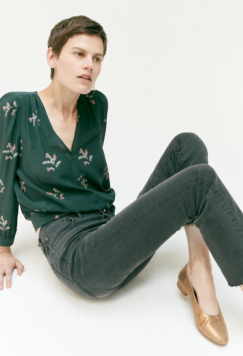 Madewell Silk Wrap Top in Wild Botanic, Cali Demi-Boot Jeans: Asymmetrical Hem Edition, The Leia Ballet Flat in Soft Metallic and Ringcatch Earrings