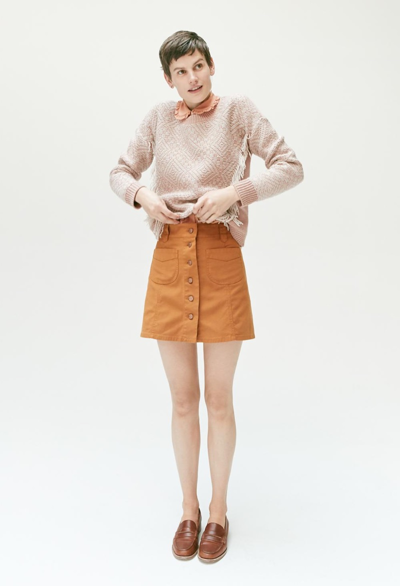 Madewell Reverse-Diamond Pullover Sweater, Silk Ruffle Blouse, Garment-Dyed Patch-Pocket Skirt and The Elinor Loafer in Leather