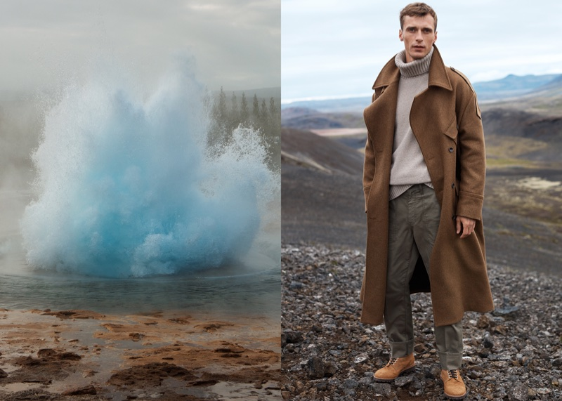 Clement Chabernaud poses in Iceland for Mango Committed's fall-winter 2017 campaign
